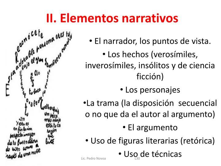 II. Elementos narrativos