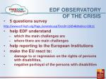 edf observatory of the crisis