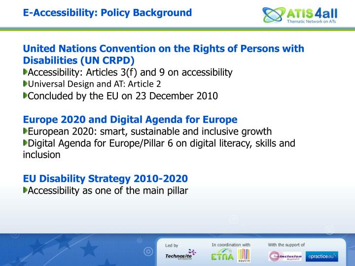 E-Accessibility: Policy Background
