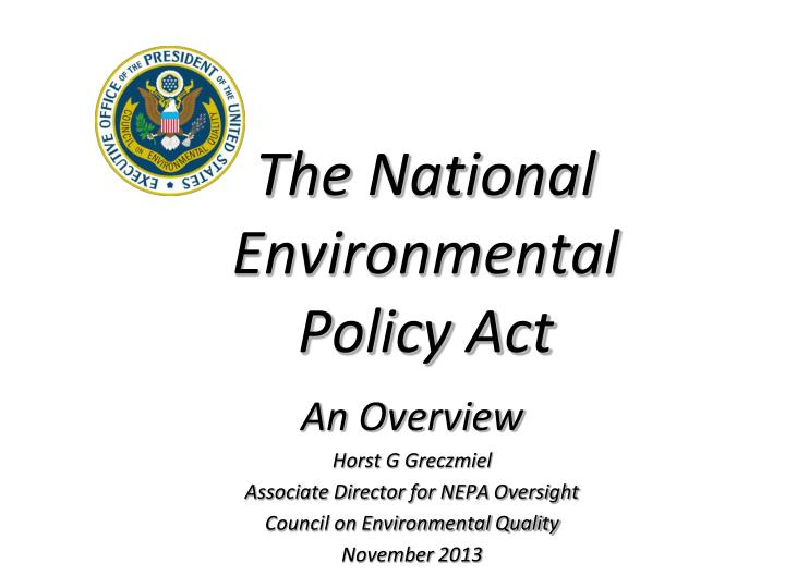 the national environmental policy act n.