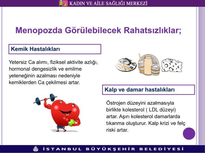 Menopozda Görülebilecek Rahatsızlıklar;