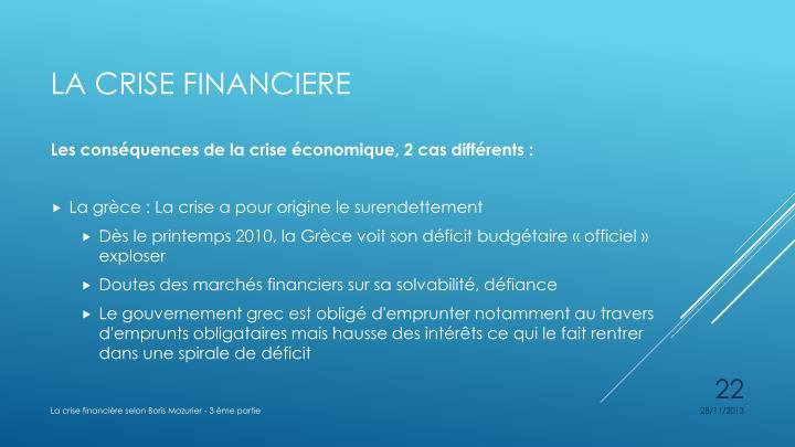 Les conséquences de la crise économique, 2 cas différents: