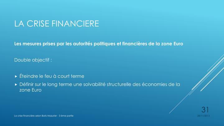 Les mesures prises par les autorités politiques et financières de la zone Euro