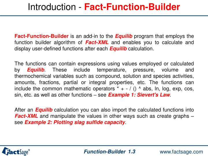 Introduction fact function builder