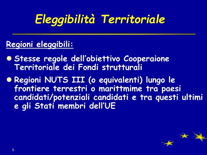 Eleggibilità Territoriale