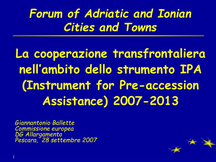 Forum of adriatic and ionian cities and towns