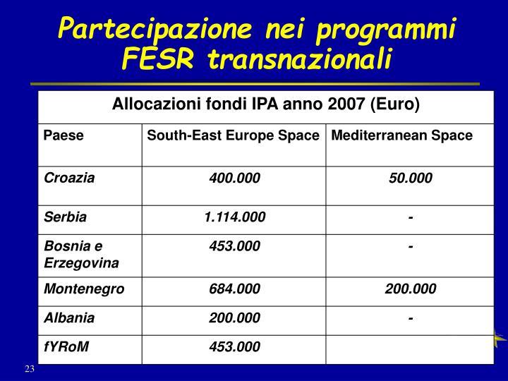 Partecipazione nei programmi FESR transnazionali