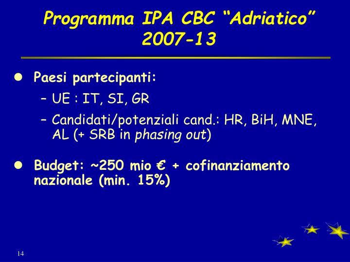 """Programma IPA CBC """"Adriatico"""""""