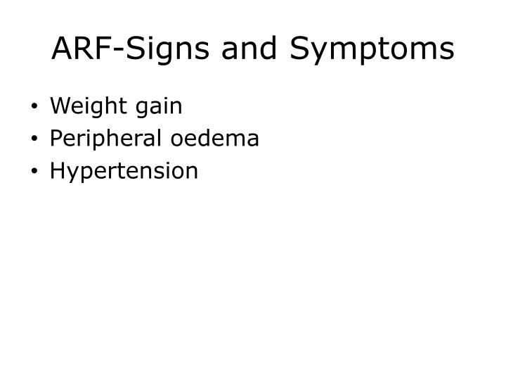 ARF-Signs and Symptoms