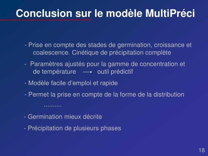 Conclusion sur le modèle MultiPréci