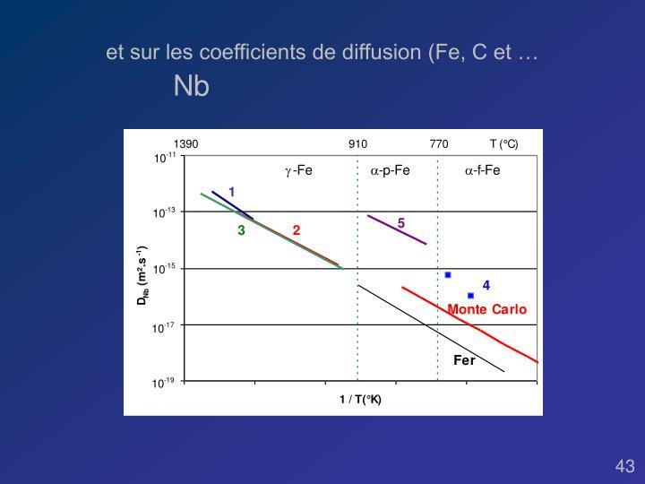 et sur les coefficients de diffusion (Fe, C et …