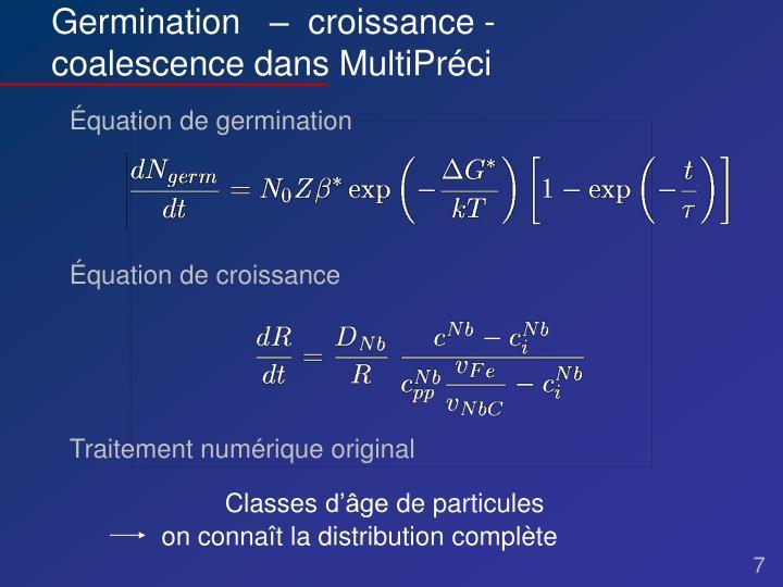 Équation de germination