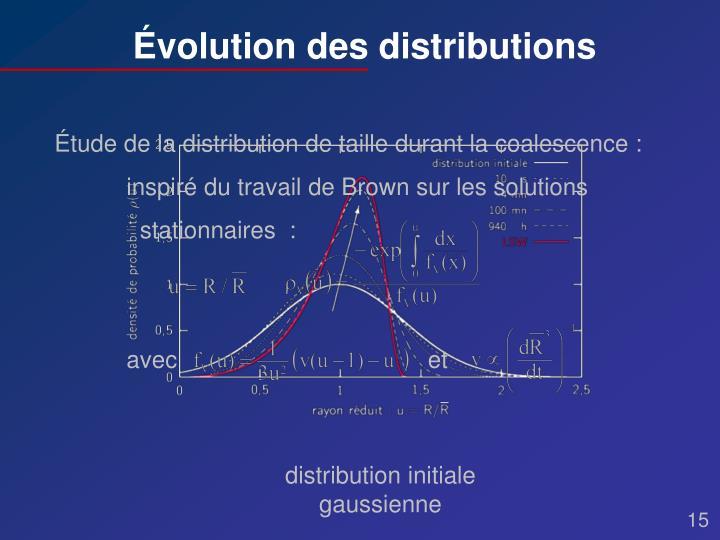 Étude de la distribution de taille durant la coalescence :