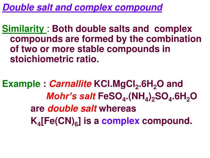 Double salt and complex compound