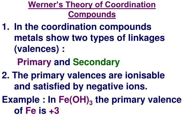 Werner's Theory of Coordination Compounds