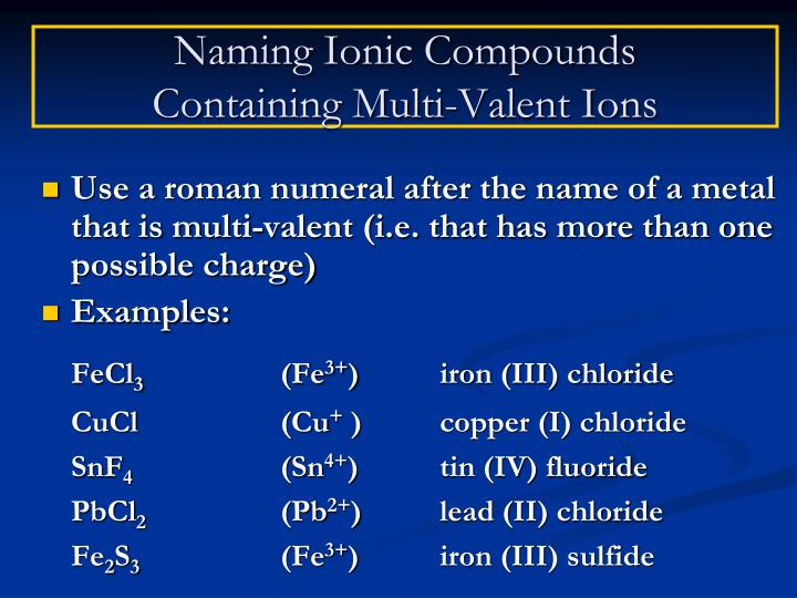 Ppt Chapter 58 59 Naming Formula Writing For Ionic