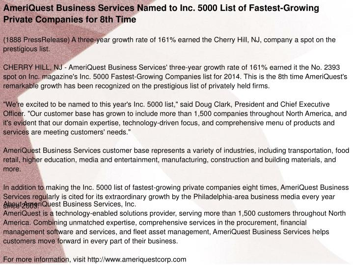 PPT - AmeriQuest Business Services Named to Inc  5000 List