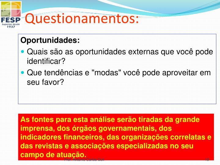 Questionamentos: