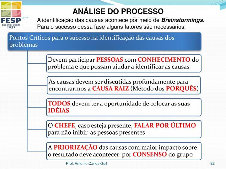 ANÁLISE DO PROCESSO