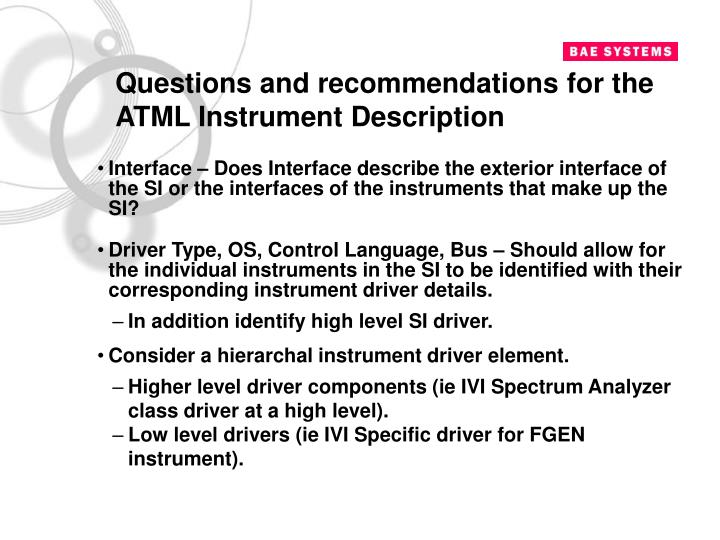 Questions and recommendations for the ATML Instrument Description