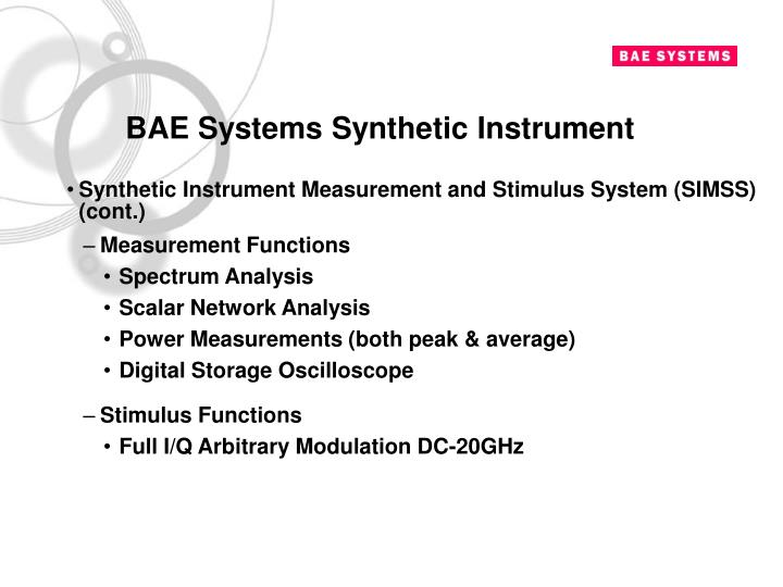 BAE Systems Synthetic Instrument