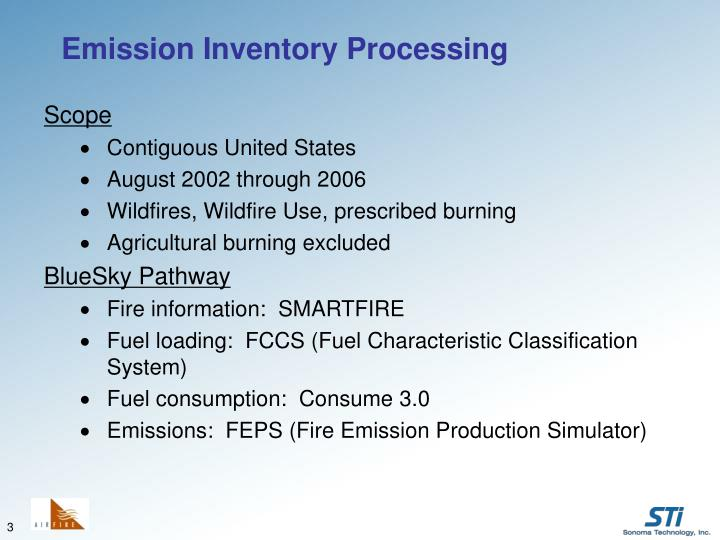 Emission inventory processing