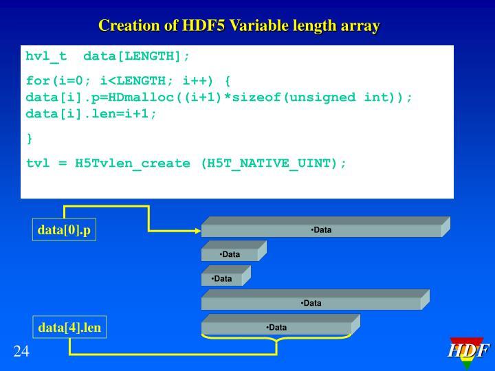 Creation of HDF5 Variable length array