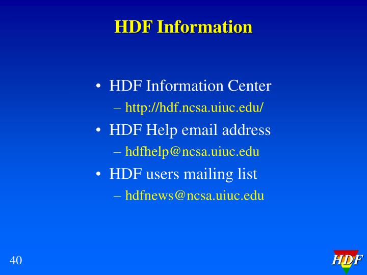 HDF Information
