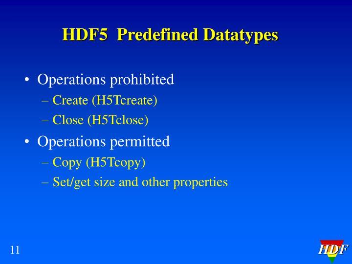 HDF5  Predefined Datatypes