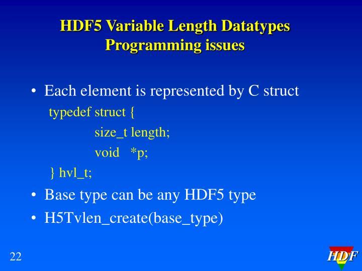 HDF5 Variable Length Datatypes