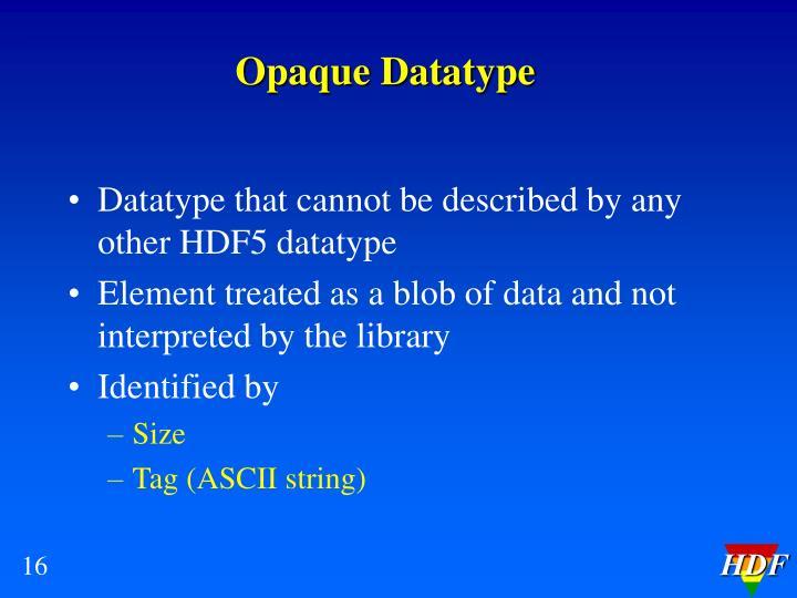 Opaque Datatype