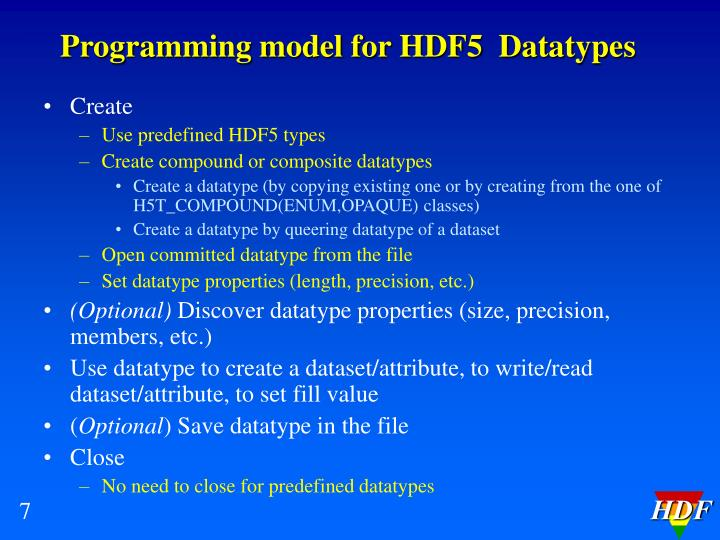 Programming model for HDF5  Datatypes