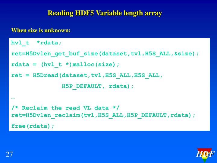 Reading HDF5 Variable length array