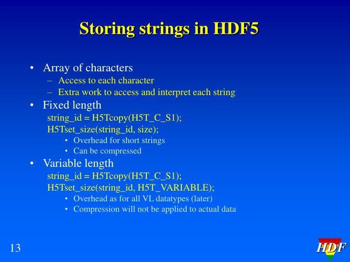 Storing strings in HDF5