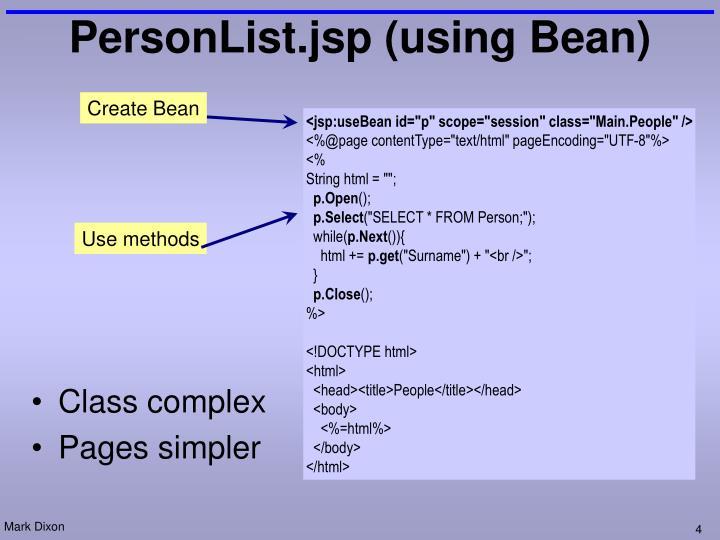 PersonList.jsp (using Bean)