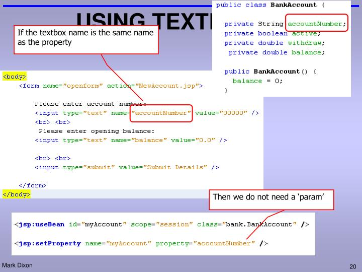 USING TEXTBOXES