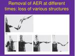 removal of aer at different times loss of various structures
