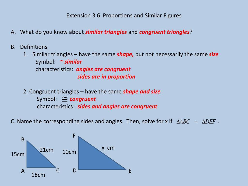 Ppt Extension 36 Proportions And Similar Figures Powerpoint