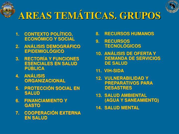 AREAS TEMÁTICAS. GRUPOS