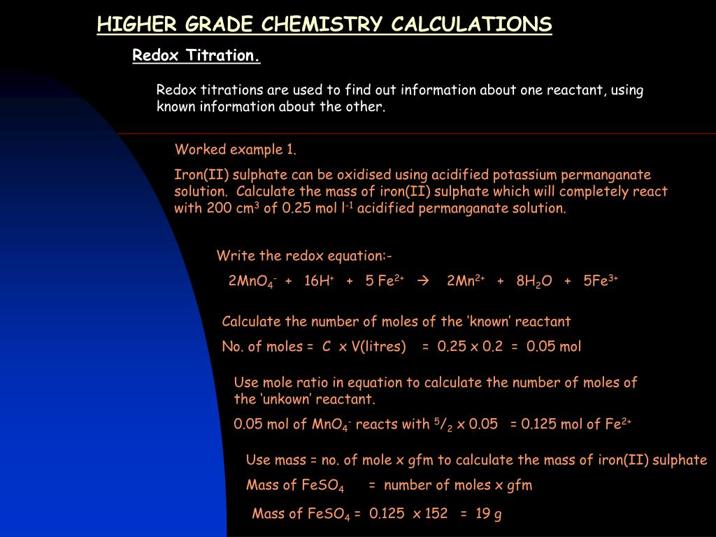 Ppt Higher Grade Chemistry Calculations Powerpoint Presentation
