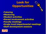 look for opportunities