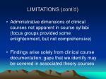 limitations cont d