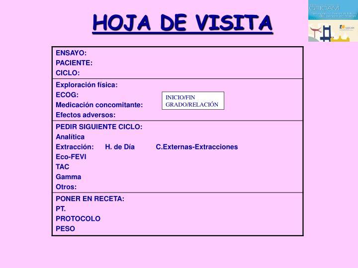 HOJA DE VISITA