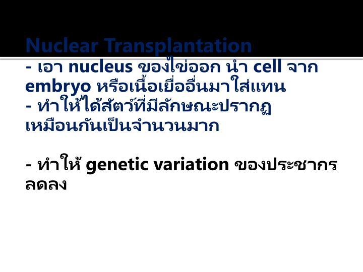 Nuclear Transplantation