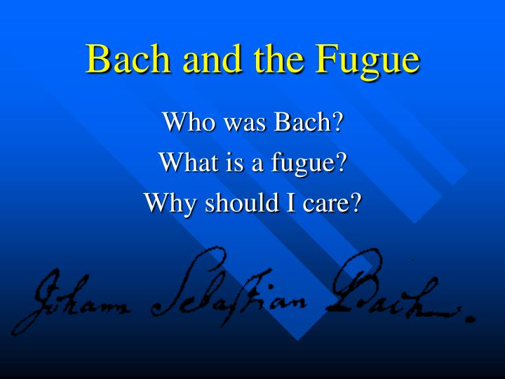 bach and the fugue n.