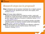 research steps as in proposal