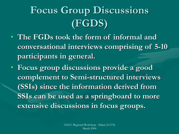 Focus group discussions fgds