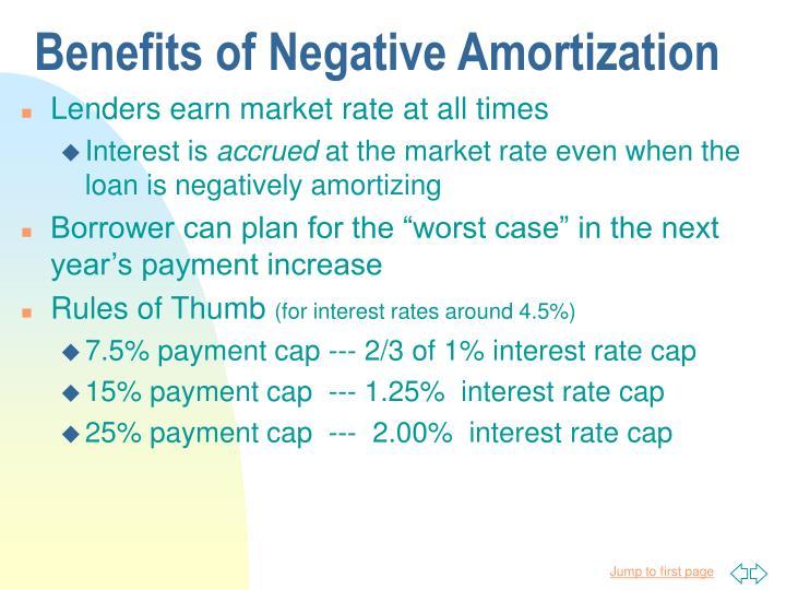 Benefits of Negative Amortization