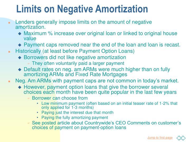 Limits on Negative Amortization