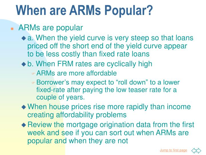 When are ARMs Popular?